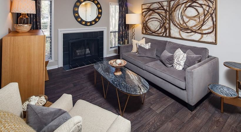 Living Room with fireplace at our atlanta luxury apartments
