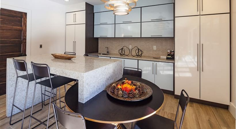 Kitchen and dining areas at our Lake Park apartment clubhouse