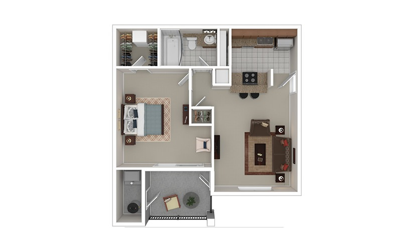 The Adair 1 bedroom 1 bath 680 square feet