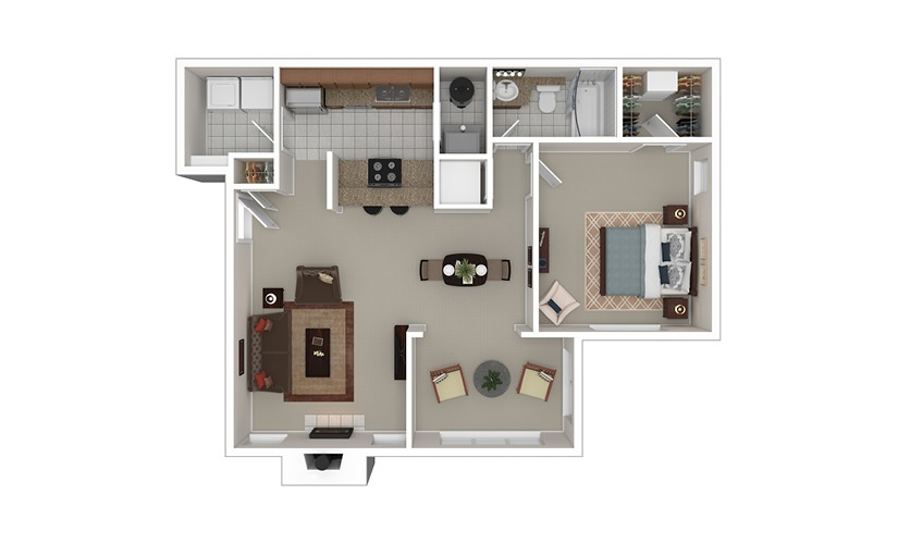 The Griffin 1 bedroom 1 bath 840 square feet