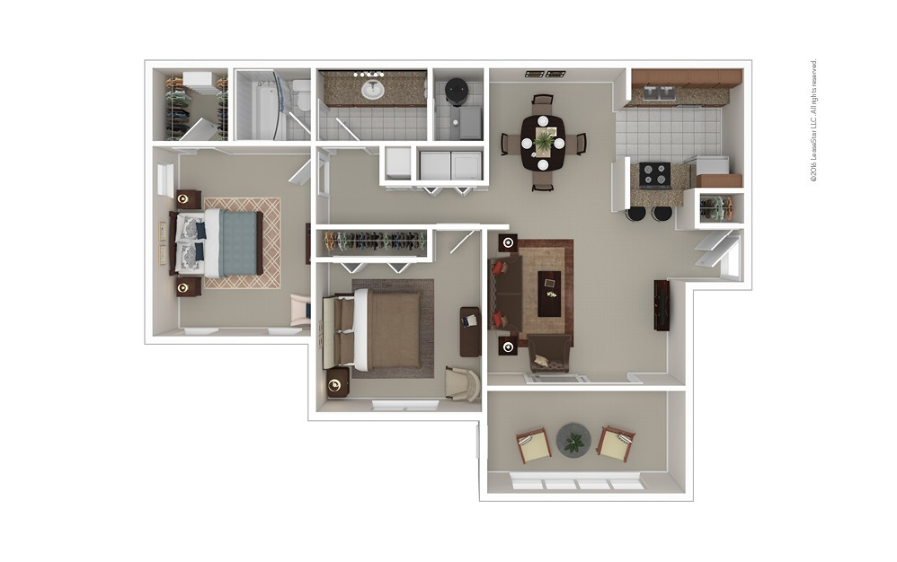 The Lawrence 2 bedroom 1 bath 1100 square feet