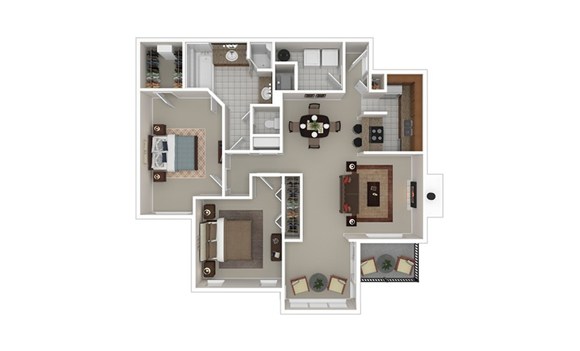 The Olsson 2 bedroom 1 bath 1290 square feet