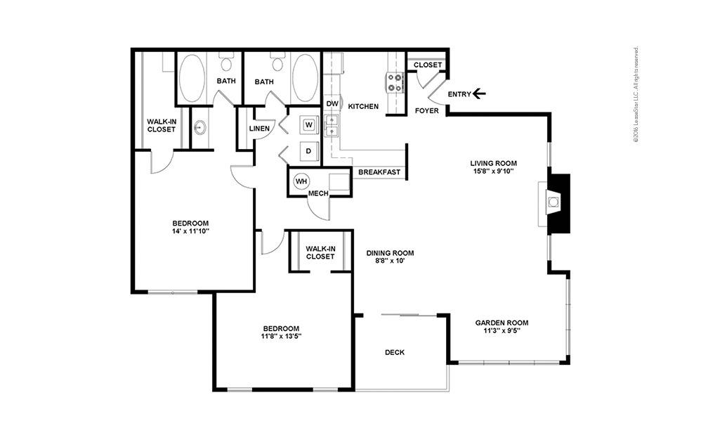 The Perkins 2 bedroom 2 bath 1300 square feet (2)