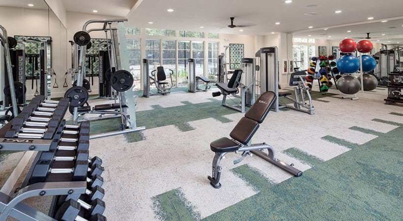 Fitness center at our apartments in Decatur, GA
