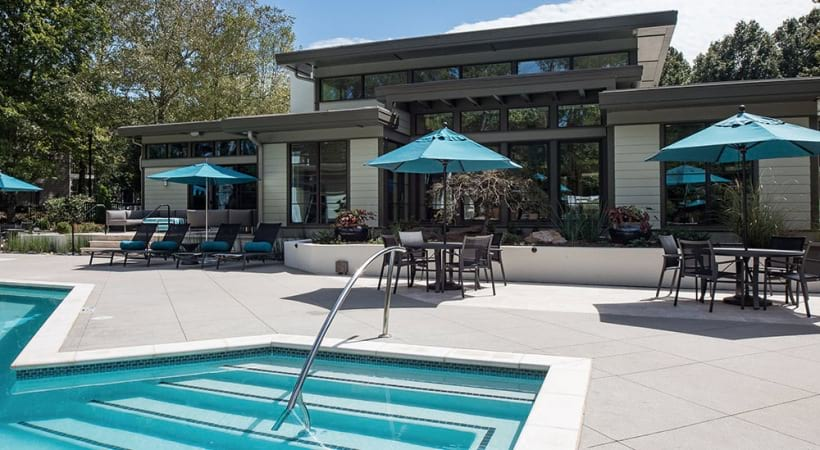 Resort style apartment pool at Viridian by Cortland