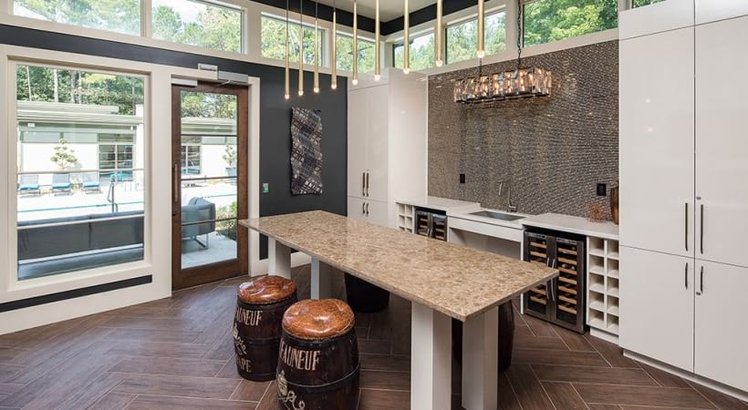 Resident clubhouse with wine bar at Viridian by Cortland
