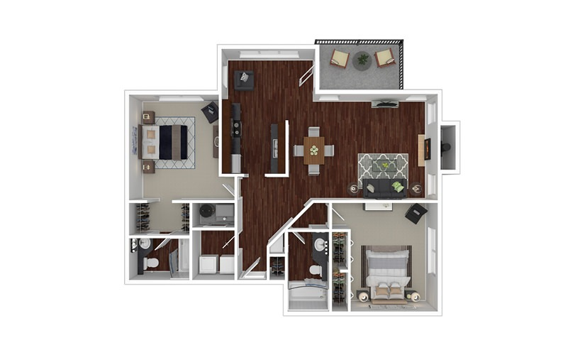 Wisteria 2 bedroom 2 bath 1225 square feet