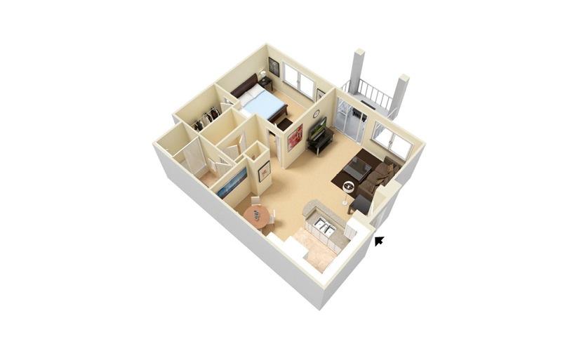 The Cancun - Classic 1 bedroom 1 bath 760 square feet