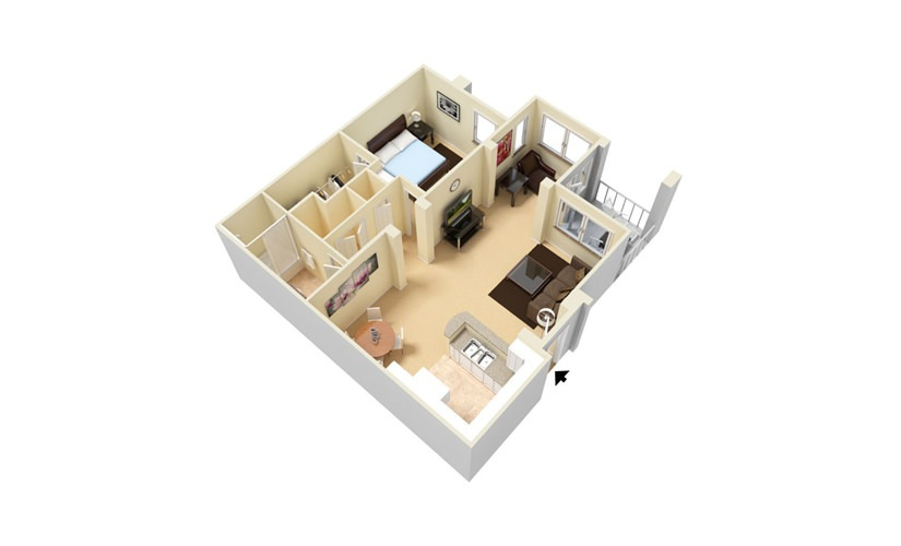 The Cove - Classic 1 bedroom 1 bath 880 square feet