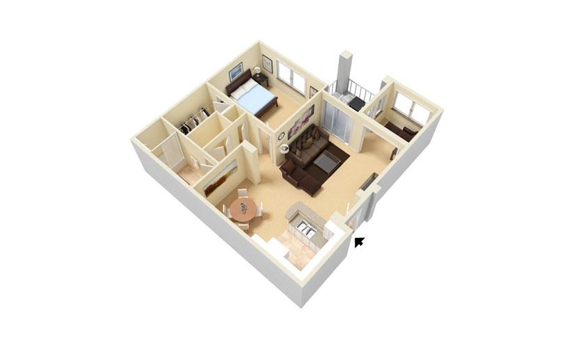 The Laguna - Classic 1 bedroom 1 bath 868 square feet