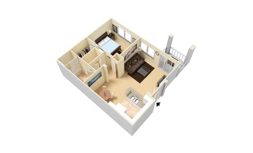 The Palm - Classic 1 bedroom 1 bath 750 square feet