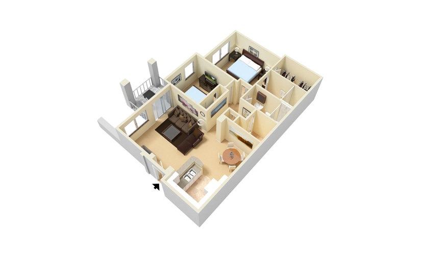 The Vallarta - Classic 2 bedroom 2 bath 1035 square feet