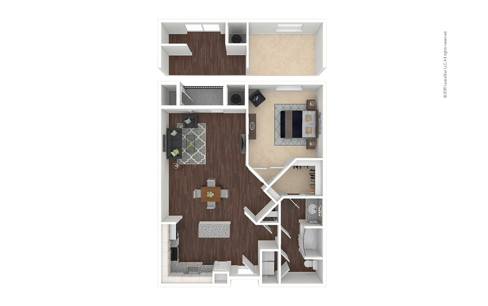 Belleview 1 bedroom 1 bath 889 - 947 square feet