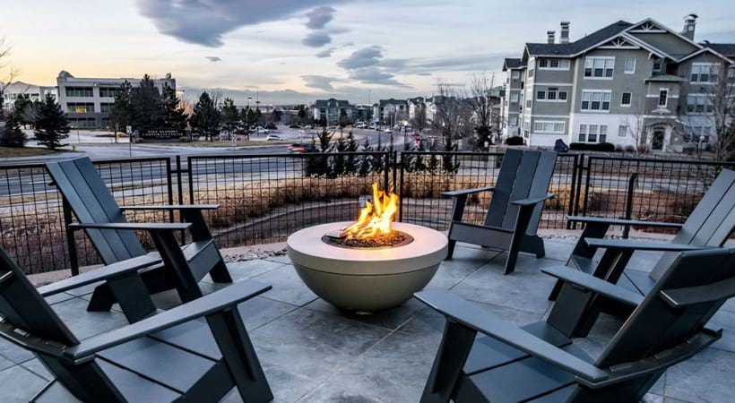 Outdoor lounge and fire pit at our Lone Tree apartments