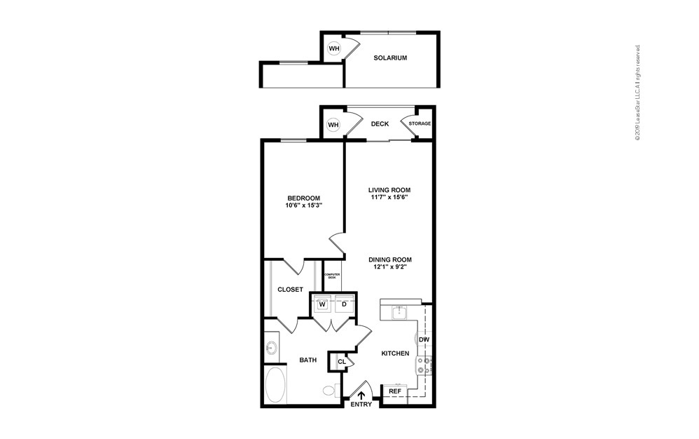 Pearl 1 bedroom 1 bath 721 - 764 square feet (2)