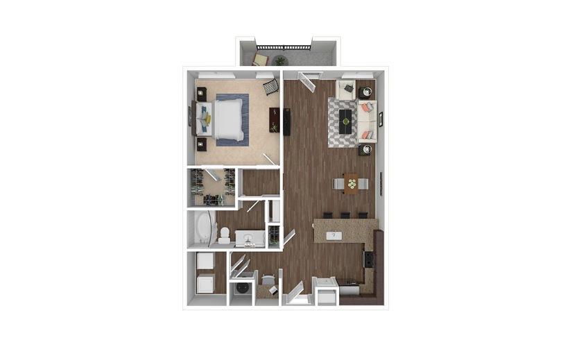 A10 1 bedroom 1 bath 944 square feet