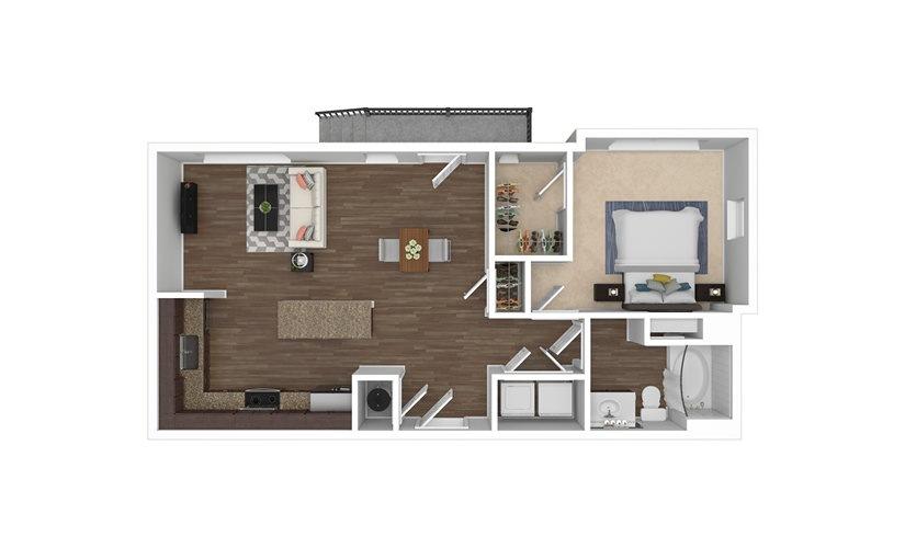 A2 1 bedroom 1 bath 709 square feet