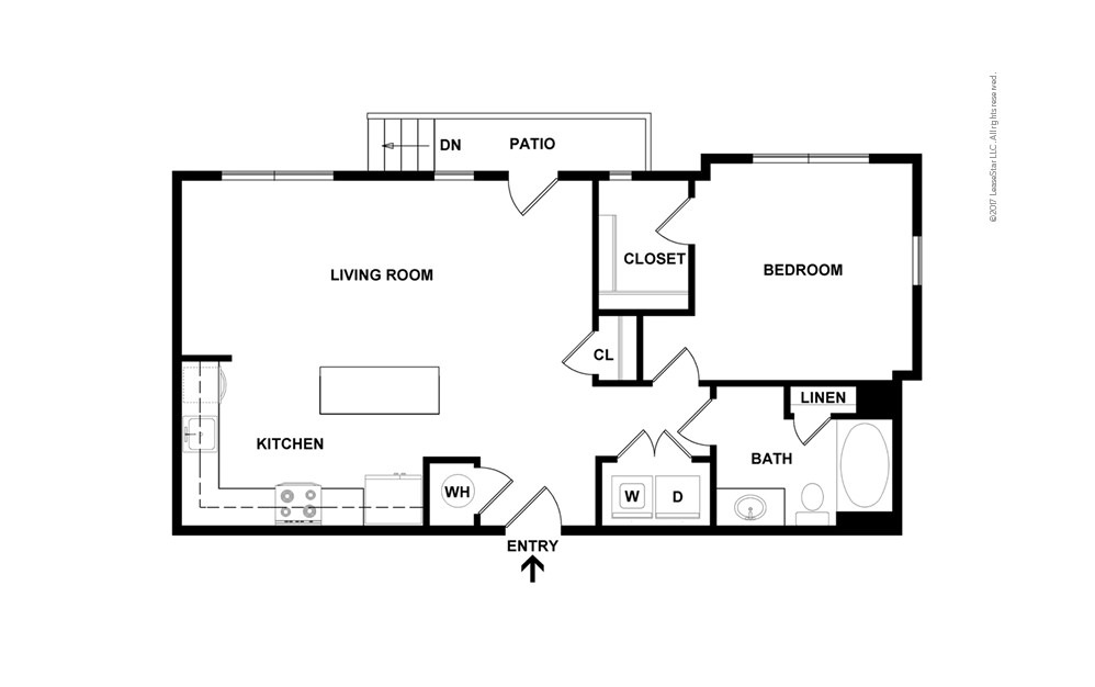 A2 1 bedroom 1 bath 709 square feet (2)