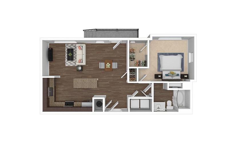 A4 1 bedroom 1 bath 732 square feet