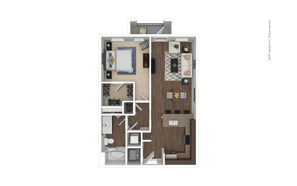 A5 1 bedroom 1 bath 736 square feet