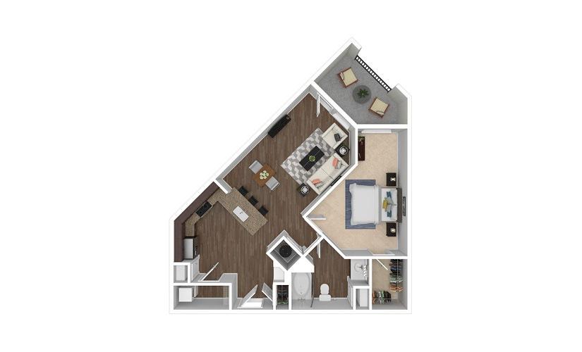 A6 1 bedroom 1 bath 760 square feet