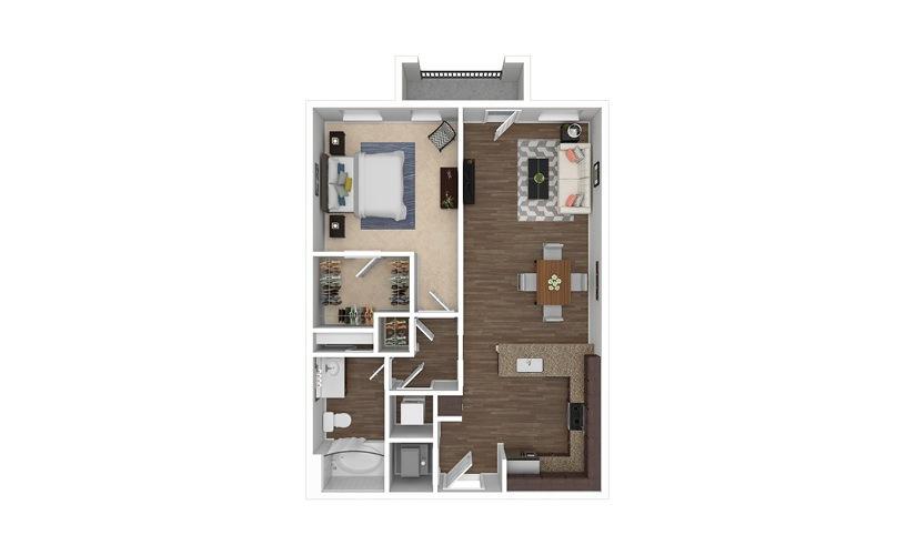 A7 1 bedroom 1 bath 788 square feet