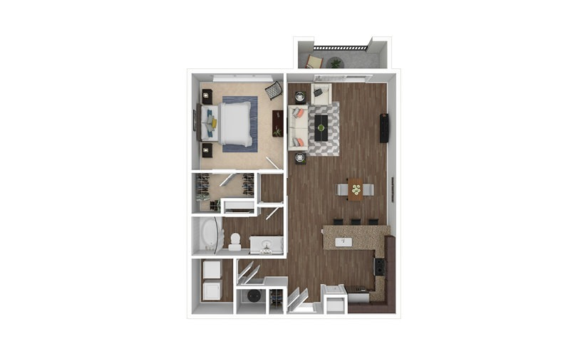 A9 1 bedroom 1 bath 864 square feet