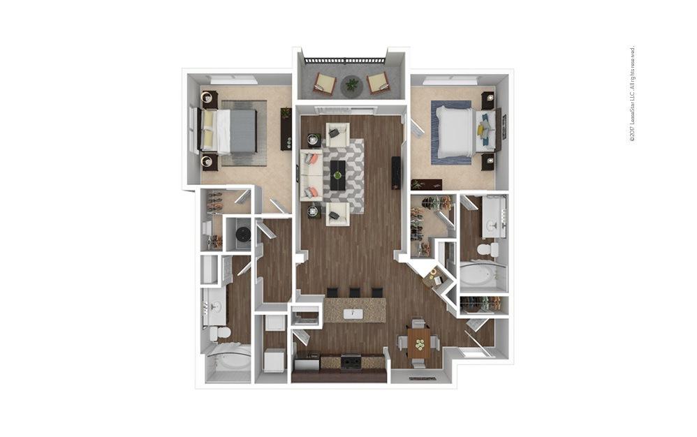 B7 2 bedroom 2 bath 1234 square feet