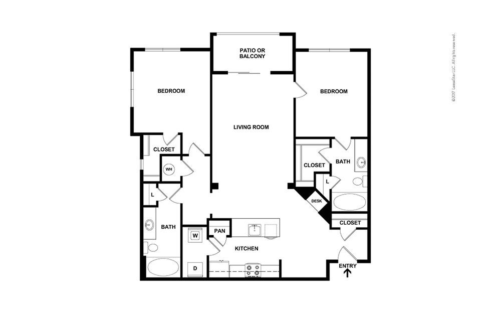 B7 2 bedroom 2 bath 1234 square feet (2)