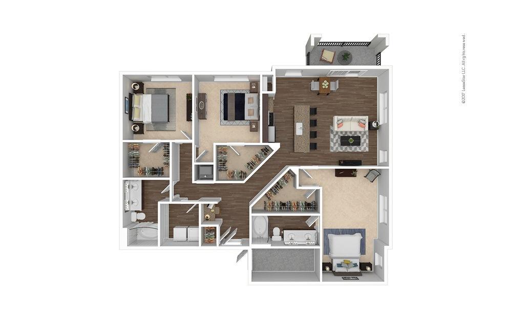 C2 3 bedroom 2 bath 1611 square feet