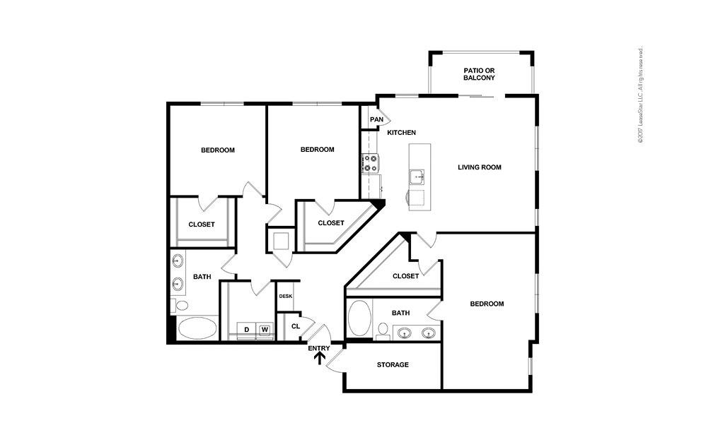 C2 3 bedroom 2 bath 1611 square feet (2)