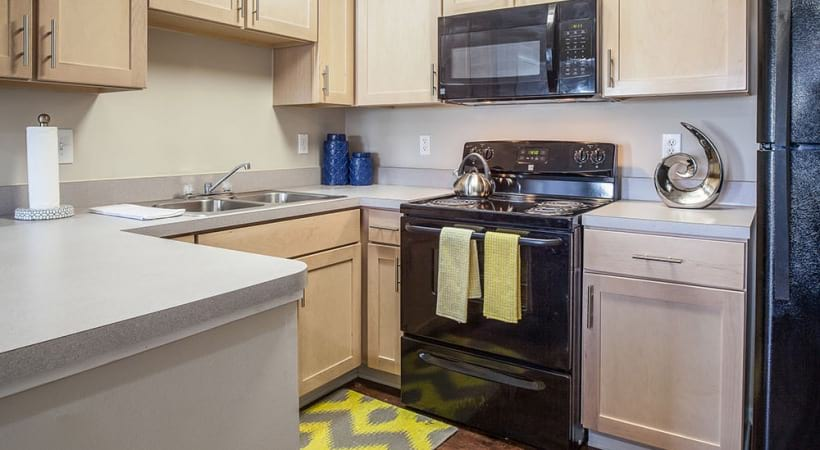 Energy-Efficient, Black Appliances at Abbie Lakes by Cortland Apartments