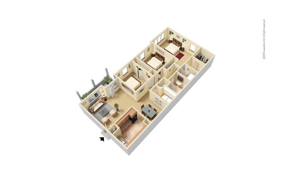 The Brookwood 3 bedroom 2 bath 1465 square feet