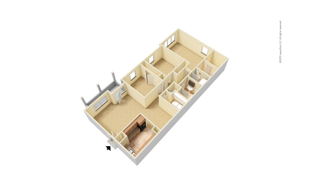 The Brookwood 3 bedroom 2 bath 1465 square feet (1)