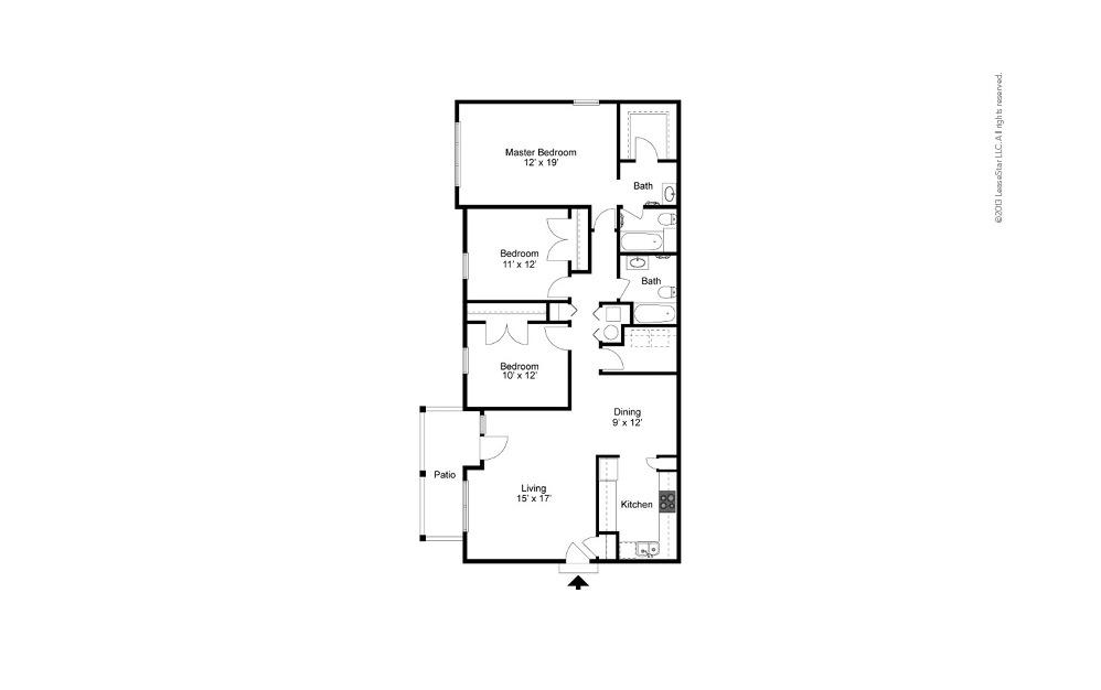 The Brookwood 3 bedroom 2 bath 1465 square feet (2)