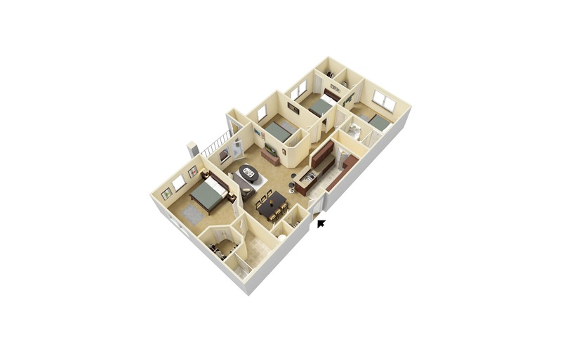 The Arthur 4 bedroom 2 bath 1346 square feet