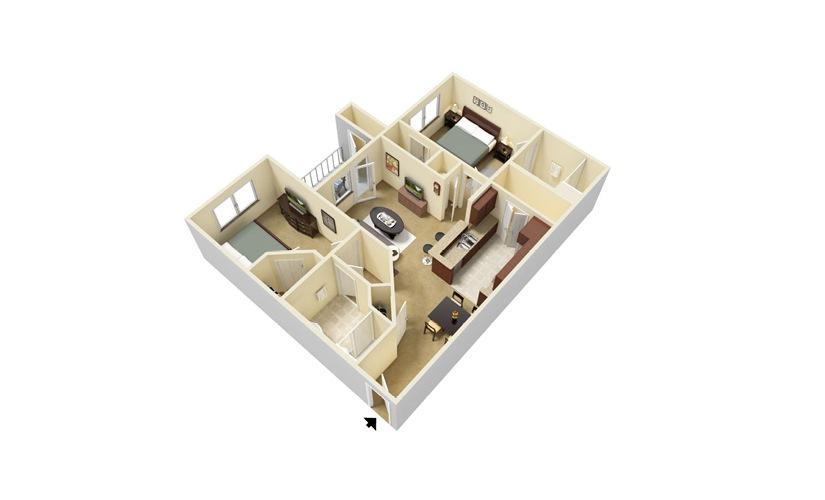 The Lancelot 2 bedroom 2 bath 877 square feet