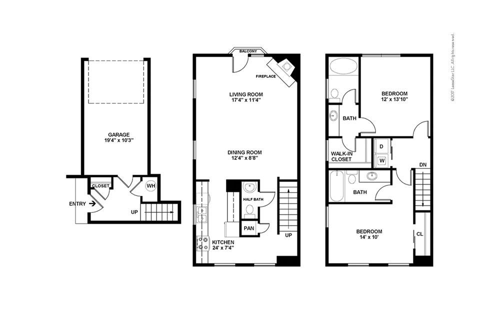 Milburne 2 bedroom 2.5 bath 1402 square feet (2)