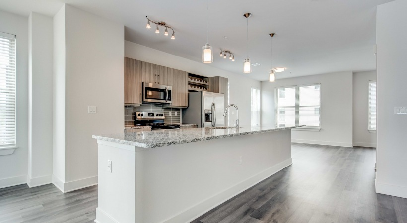 Expansive kitchen bar at our apartments near Westminster, CO