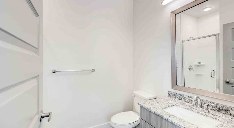 Bathroom with granite countertops at our upscale apartments for rent in Broomfield