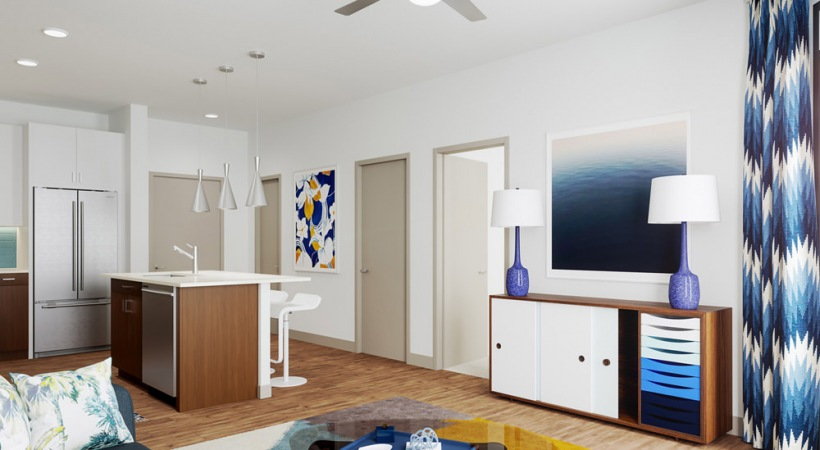 Spacious living areas at luxury apartments in South Tampa