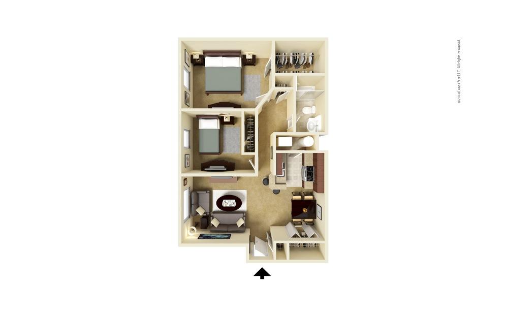 Spindler 2 bedroom 1 bath 844 square feet