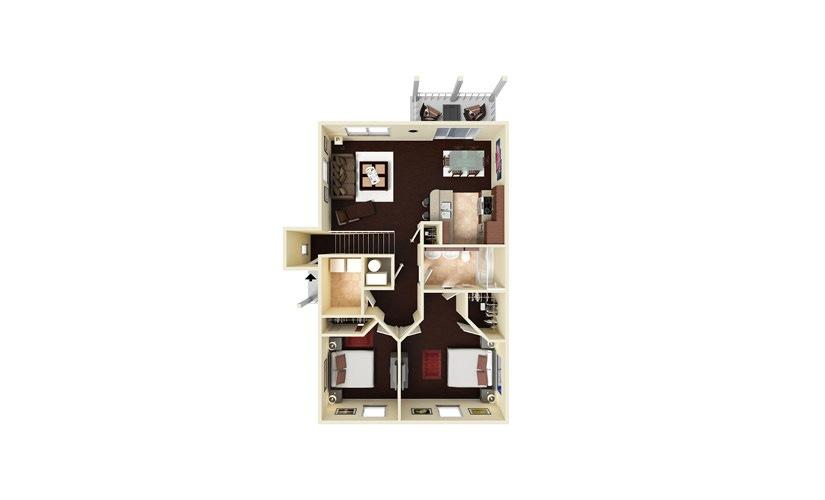 Evergreen 2 bedroom 1 bath 930 square feet