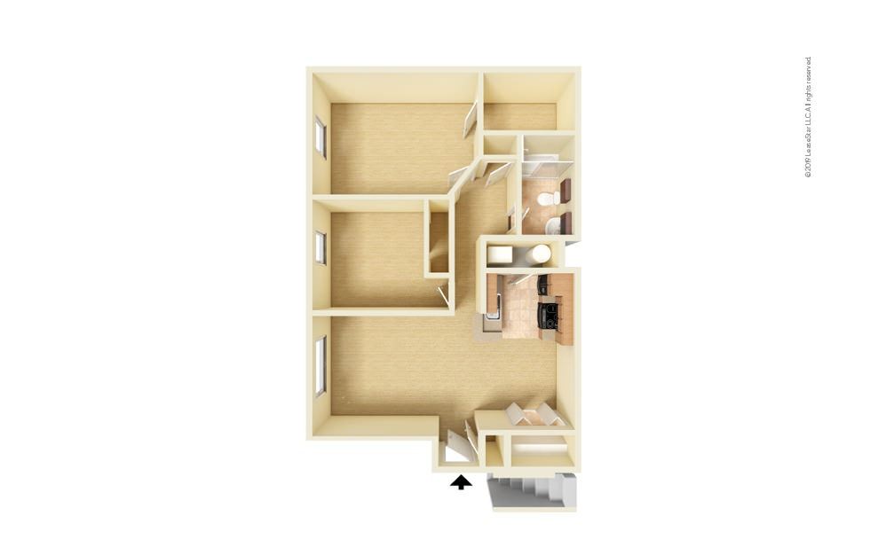 Maybury 2 bedroom 1 bath 850 square feet (1)