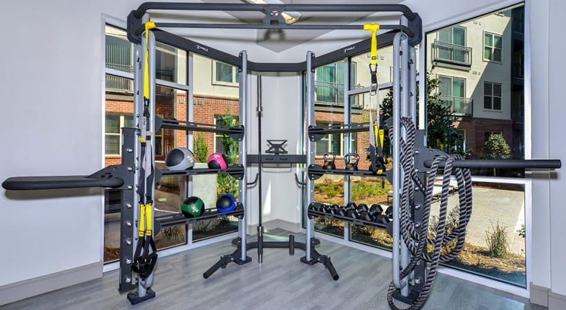 Fitness center at apartments in Buckhead, GA