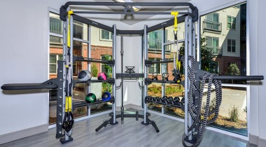 Fitness center at apartments in Buckhead, GA