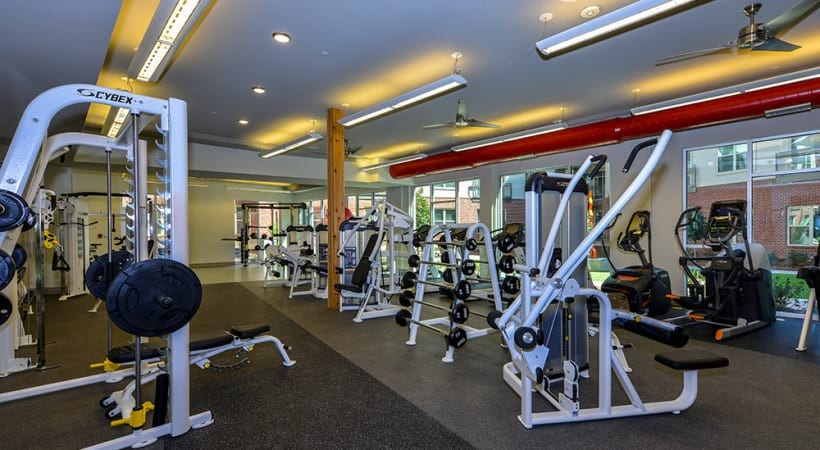 Fitness center at apartments at Phipps Plaza