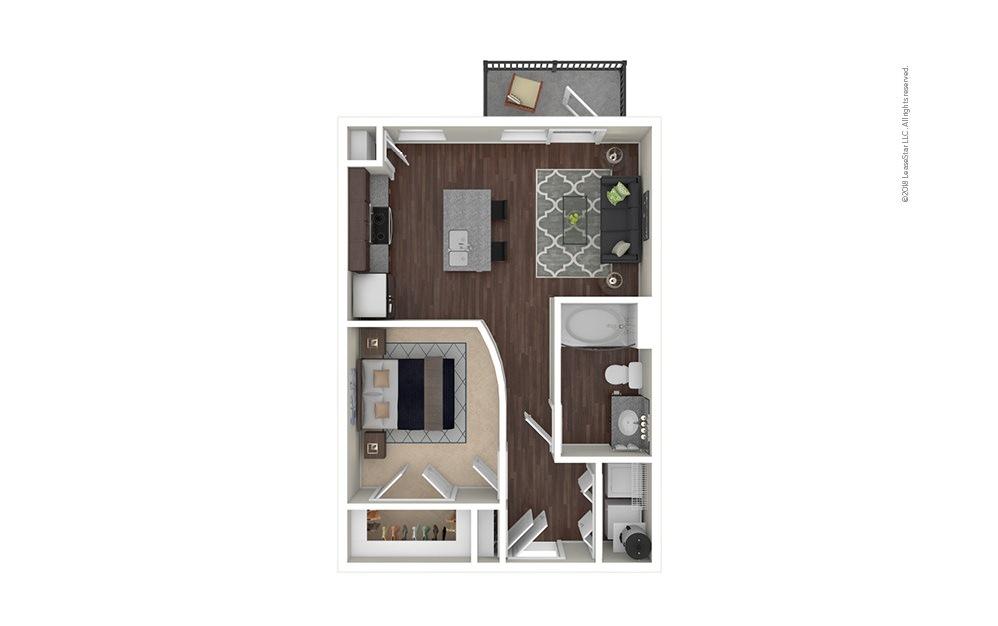 A1 1 bedroom 1 bath 610 square feet