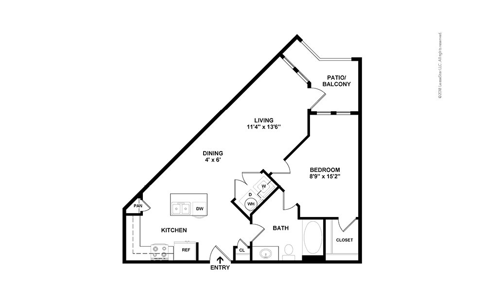A3 1 bedroom 1 bath 710 square feet (2)