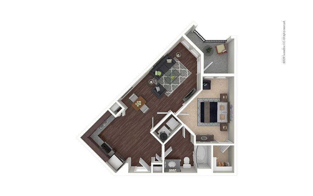 A2 1 bedroom 1 bath 688 square feet